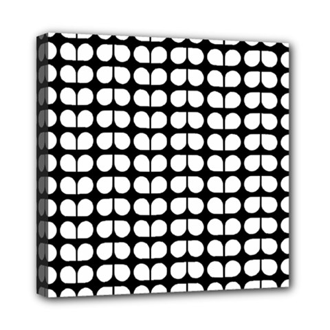 Black And White Leaf Pattern Mini Canvas 8  X 8  (framed) by creativemom