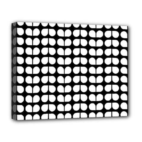 Black And White Leaf Pattern Deluxe Canvas 20  X 16  (framed) by creativemom