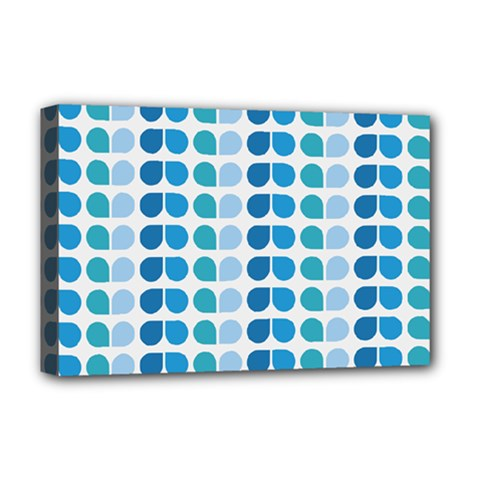 Blue Green Leaf Pattern Deluxe Canvas 18  X 12  (framed) by creativemom