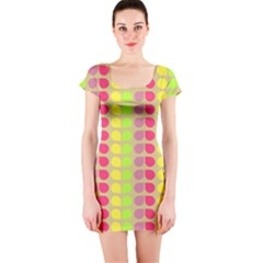Colorful Leaf Pattern Short Sleeve Bodycon Dress