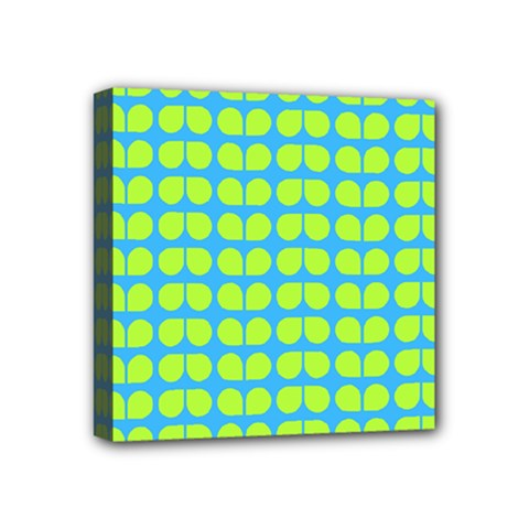 Blue Lime Leaf Pattern Mini Canvas 4  X 4  (framed) by creativemom