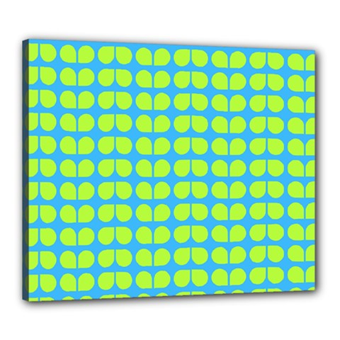 Blue Lime Leaf Pattern Canvas 24  X 20  (framed) by creativemom
