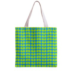 Blue Lime Leaf Pattern Grocery Tote Bag by creativemom