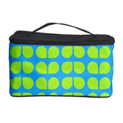 Blue Lime Leaf Pattern Cosmetic Storage Case by creativemom