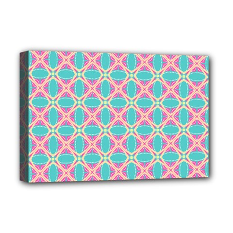 Cute Pretty Elegant Pattern Deluxe Canvas 18  X 12  (framed) by creativemom