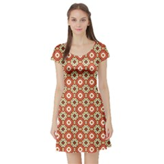 Cute Pretty Elegant Pattern Short Sleeve Skater Dress