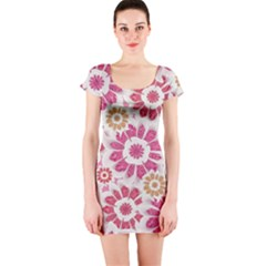 Floral Print Collage Pink Short Sleeve Bodycon Dress by dflcprintsclothing