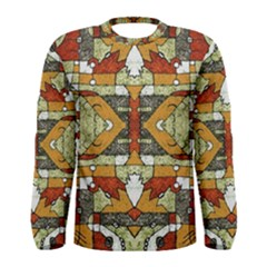 Multicolored Tribal Print Long Sleeve T-shirt (Men)