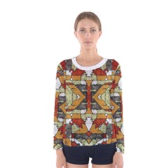 Multicolored Tribal Print Long Sleeve T-shirt (Women) by dflcprintsclothing