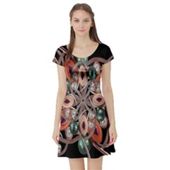 Luxury Baroque  Short Sleeve Skater Dress by dflcprintsclothing