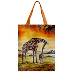 Giraffe Mother & Baby Classic Tote Bag by ArtByThree