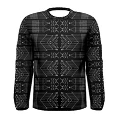 Black And White Tribal Print Long Sleeve T Shirt (men)
