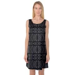Black and White Tribal Print Sleeveless Satin Nightdress