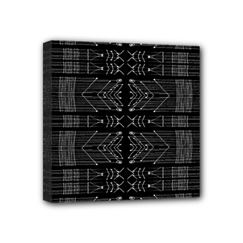 Black And White Tribal  Mini Canvas 4  X 4  (framed) by dflcprints