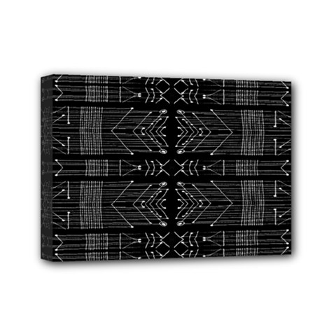 Black And White Tribal  Mini Canvas 7  X 5  (framed) by dflcprints