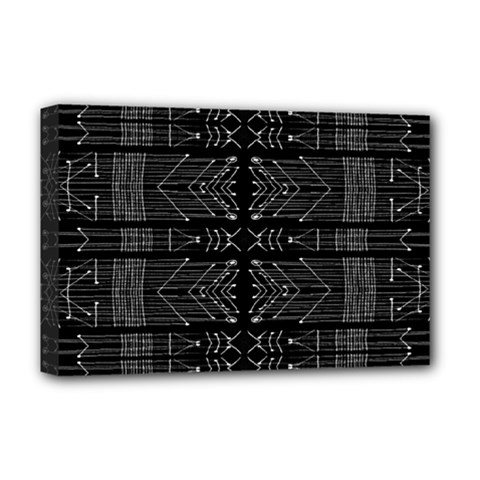 Black and White Tribal  Deluxe Canvas 18  x 12  (Framed)