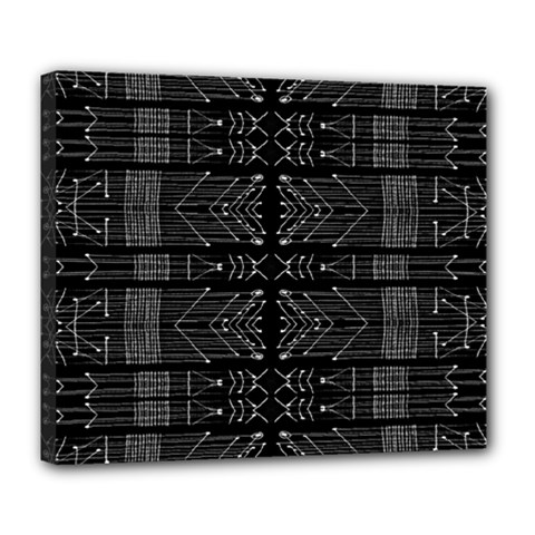 Black and White Tribal  Deluxe Canvas 24  x 20  (Framed)