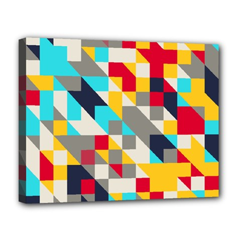 Colorful Shapes Canvas 14  X 11  (stretched) by LalyLauraFLM