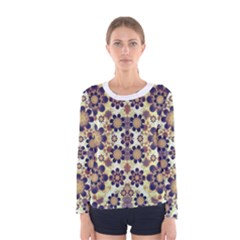 Modern Fancy Baroque Print Long Sleeve T-shirt (Women) by dflcprintsclothing