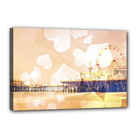 Bokeh Hearts Santa Monica Pier Canvas 18  x 12  (Framed) by stineshop