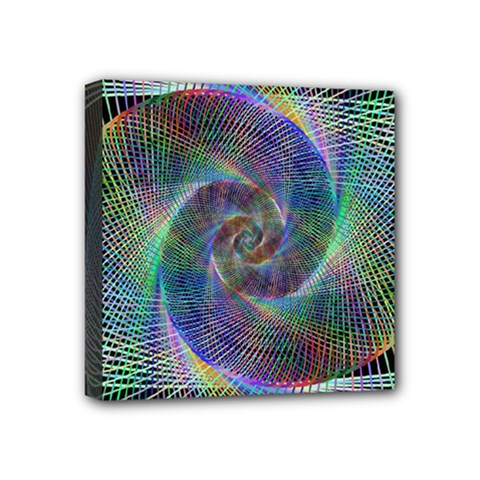 Psychedelic Spiral Mini Canvas 4  X 4  (framed) by StuffOrSomething