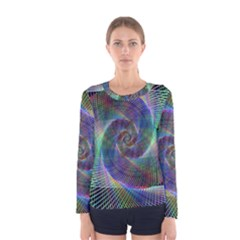 Psychedelic Spiral Long Sleeve T-shirt (Women) by StuffOrSomething