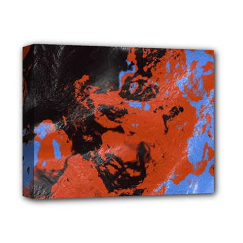 Orange Blue Black Texture Deluxe Canvas 14  X 11  (stretched) by LalyLauraFLM