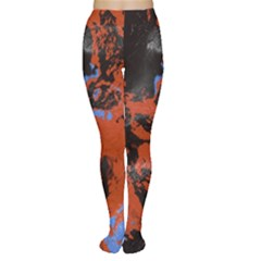 Orange Blue Black Texture Tights by LalyLauraFLM