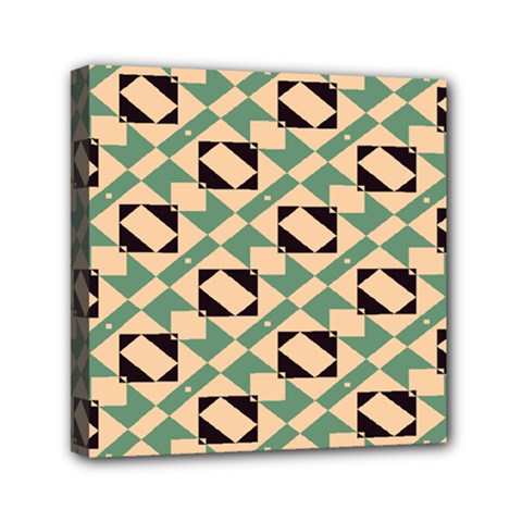 Brown Green Rectangles Pattern Mini Canvas 6  X 6  (stretched) by LalyLauraFLM