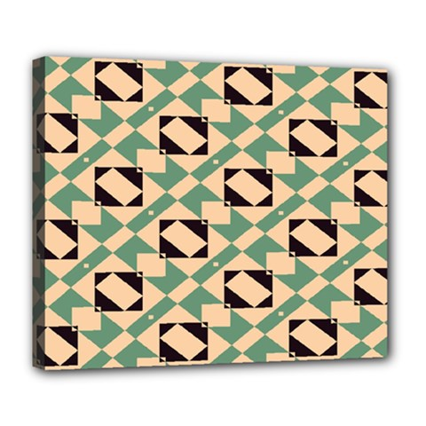 Brown Green Rectangles Pattern Deluxe Canvas 24  X 20  (stretched) by LalyLauraFLM