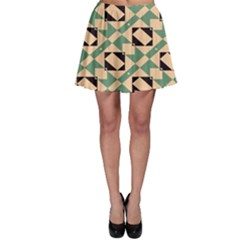 Brown Green Rectangles Pattern Skater Skirt by LalyLauraFLM