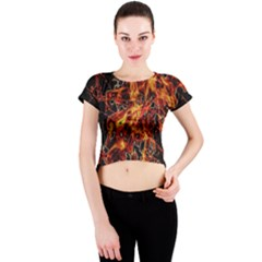 On Fire Print Crew Neck Crop Top by dflcprintsclothing