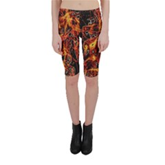 On Fire Print Cropped Leggings