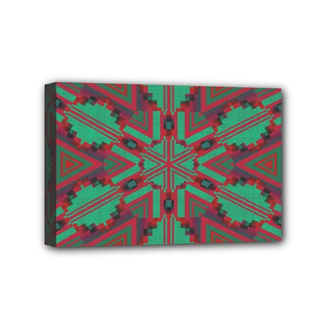 Green Tribal Star Mini Canvas 6  X 4  (stretched) by LalyLauraFLM