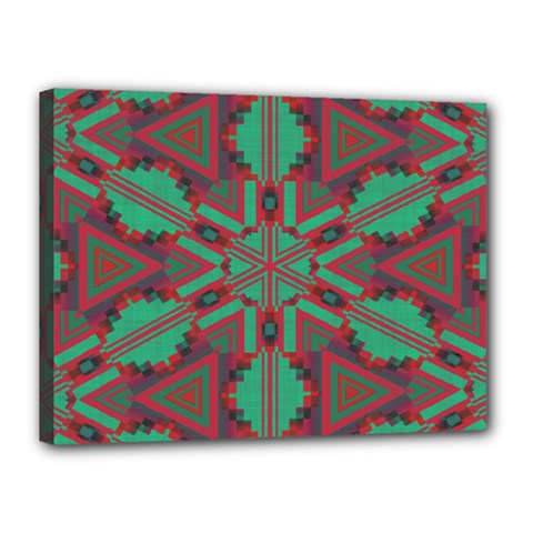 Green Tribal Star Canvas 16  X 12  (stretched) by LalyLauraFLM