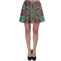 Green Tribal Star Skater Skirt