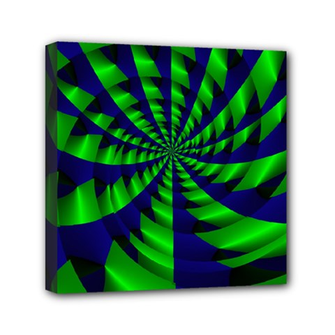 Green Blue Spiral Mini Canvas 6  X 6  (stretched) by LalyLauraFLM