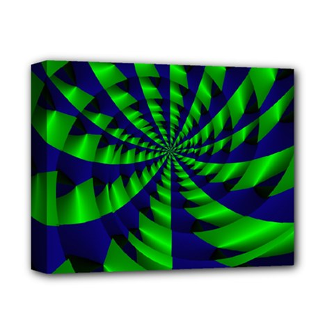 Green Blue Spiral Deluxe Canvas 14  X 11  (stretched) by LalyLauraFLM