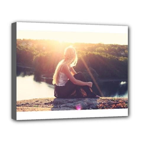 Boho Blonde Deluxe Canvas 20  X 16  (framed) by boho
