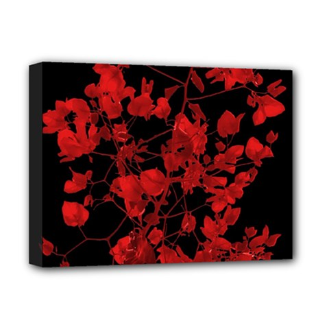 Dark Red Flower Deluxe Canvas 16  X 12  (framed)  by dflcprints