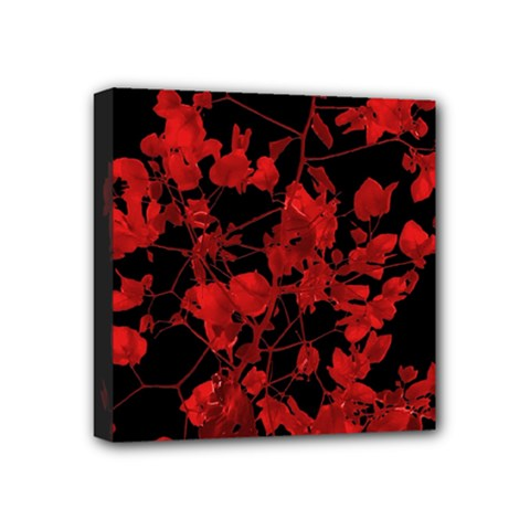 Dark Red Flower Mini Canvas 4  x 4  (Framed) by dflcprints