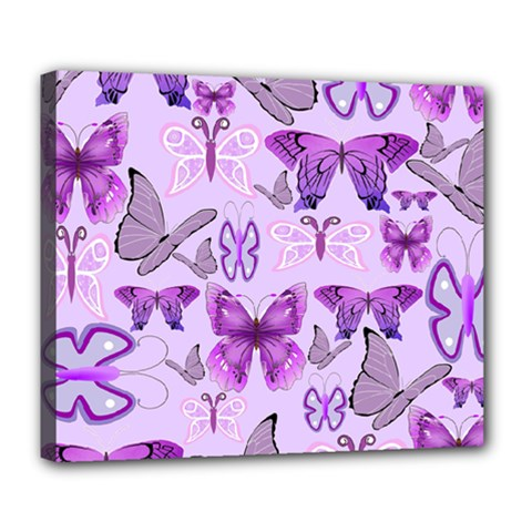 Purple Awareness Butterflies Deluxe Canvas 24  X 20  (framed) by FunWithFibro