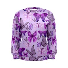 Purple Awareness Butterflies Women s Sweatshirt by FunWithFibro
