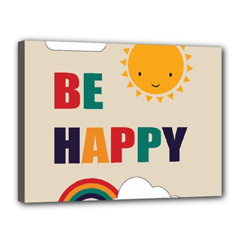 Be Happy Canvas 16  X 12  (framed) by Kathrinlegg