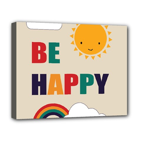 Be Happy Deluxe Canvas 20  X 16  (framed) by Kathrinlegg