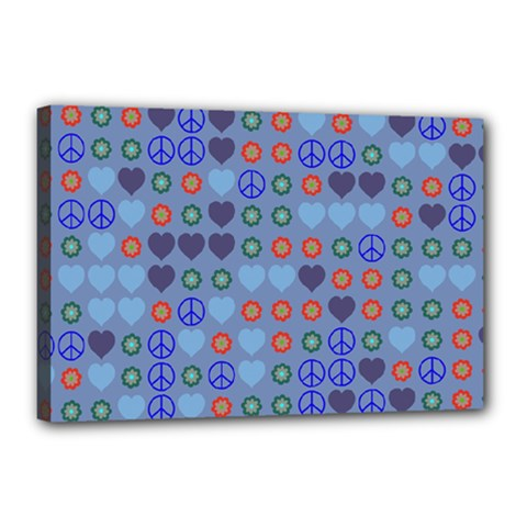 Peace and love Canvas 18  x 12  (Stretched) by LalyLauraFLM