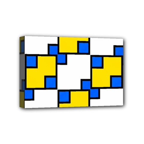 Yellow And Blue Squares Pattern Mini Canvas 6  X 4  (stretched) by LalyLauraFLM