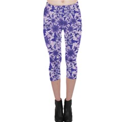 Decorative Floral Print Capri Leggings  by dflcprintsclothing