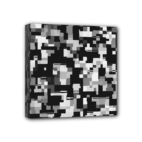Background Noise In Black & White Mini Canvas 4  X 4  (framed) by StuffOrSomething