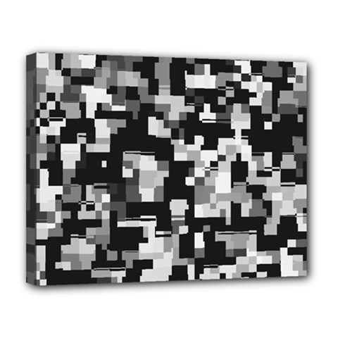 Background Noise In Black & White Canvas 14  X 11  (framed) by StuffOrSomething